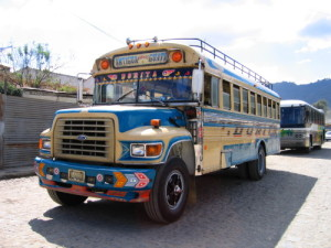 Buses in Guatemala are hand me down school buses from the US