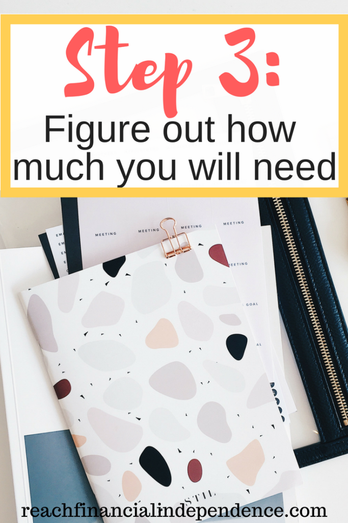 Step 3: Figure out how much you will need. This third step to financial independence is one of the most important, because if you don't know how much you will need then you don't know when you can actually stop working and enjoy your lifestyle and independence. #financialindependence #financialindependenceretireearly #financialindependenceretireearlylife #savingmoney #savingtips #savingmoneytips #savingmoneyideas