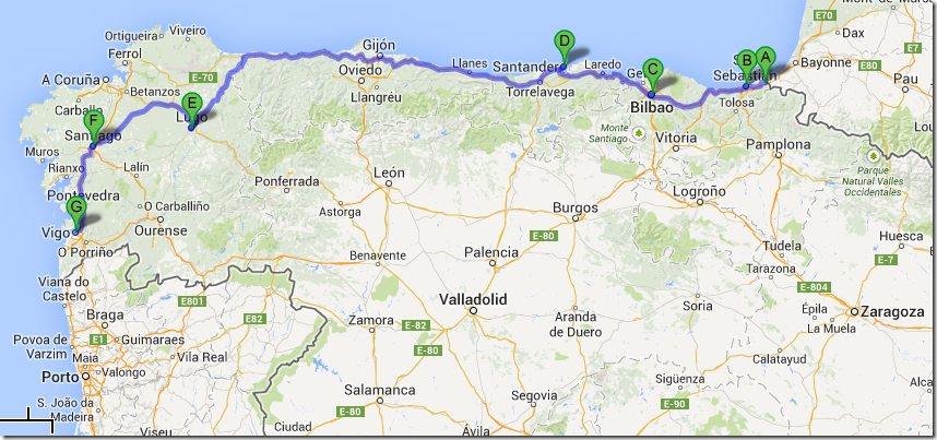 Map Of Northern Portugal And Spain.European Trip Update Northern Spain Leg