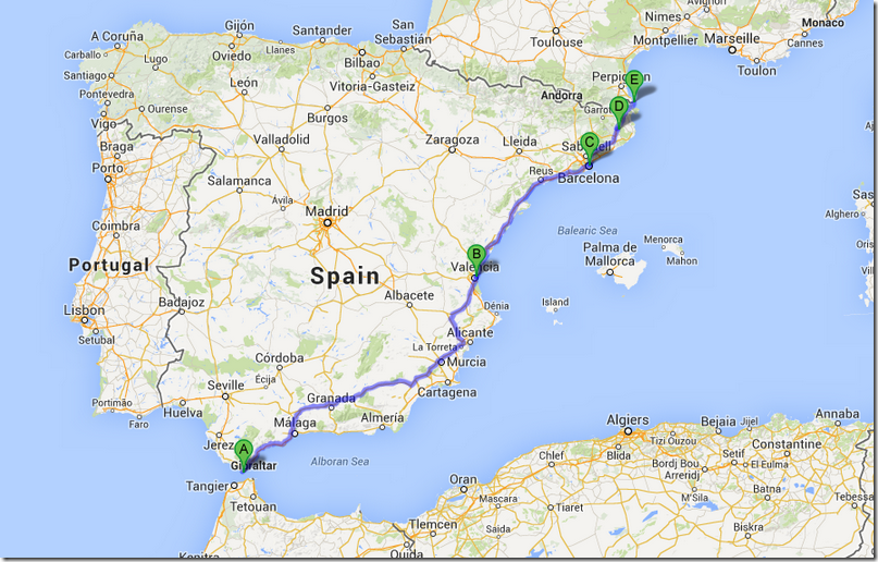 Map Of Southern Spain And France.European Trip Update Southern Spain To Paris Leg